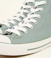 Mint Green Canvas Stripe Sole High Top Trainers New Look