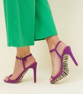 Purple Zebra Print Sole Barely Theres Sandals New Look