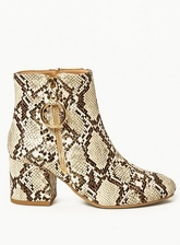 Womens Wide Fit Multi Coloured 'Amelie' Ring Zip Ankle Boots- Animal, Animal