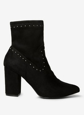 Womens Black 'Asher' Stud Sock Ankle Boots- Black, Black