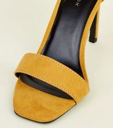Mustard Suedette Square Toe Two Part Sandals New Look