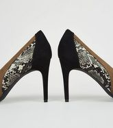 Green Suedette Snake Skin Contrast Heel Courts New Look