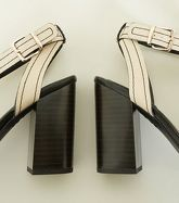Off White Contrast Stitch Block Heel Sandals New Look