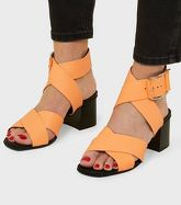 Orange Premium Neon Leather Cross Strap Sandals New Look