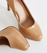 Camel Patent Platform Stiletto Heel Court New Look