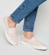 Stone Leopard Print Slip On Trainers New Look