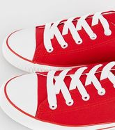 Red Lace-Up Canvas Trainers New Look