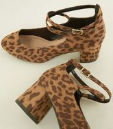 Wide Fit Brown Leopard Print Cross Strap Courts New Look