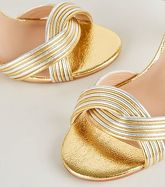 Gold Shimmer Linked Strap Block Heels New Look