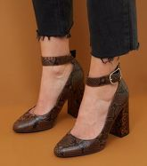 Wide Fit Brown Faux Snake Ankle Strap Flared Heels New Look