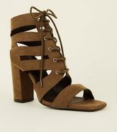 Khaki Suedette Lace Up Ghillie Block Heels New Look