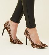 Brown Zebra Print Pointed Court Shoes New Look