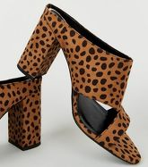 Wide Fit Brown Leopard Print Cut Out Mules New Look