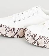 White Snake Print Flatform Trainers New Look