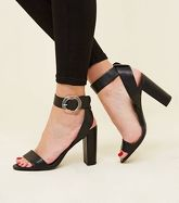 Black Leather-Look Big Circle Buckle Block Heels New Look