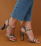 Wide Fit Multicoloured Faux Snake Heeled Sandals New Look