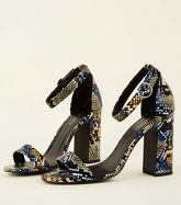 Multicoloured Faux Snake Circle Buckle Block Heels New Look