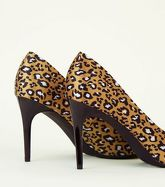 Mustard Satin Leopard Print Pointed Courts New Look