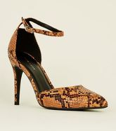 Orange Faux Snake Two Part Pointed Heels New Look