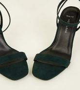 Light Green Suedette Heeled Sandals New Look