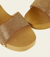 Brown Diamanté Embellished Wooden Mules New Look