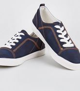 Navy Contrast Stitch Lace-Up Trainers New Look