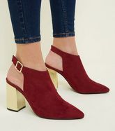 Dark Red Suedette Metal Heel Shoe Boots New Look