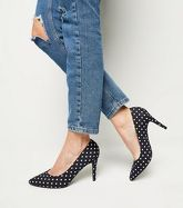 Wide Fit Black Polka Dot Pointed Courts New Look