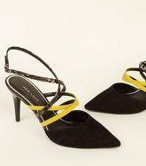 Black Neon and Faux Snake Strap Slingbacks New Look