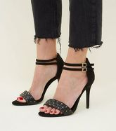 Wide Fit Black Quilted and Stud Strap Heels New Look