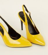 Mustard Patent Slingback Court Shoes New Look