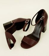 Dark Red Marble Effect Block Heel Sandals New Look