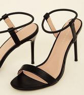 Black Elastic Ankle Band Stiletto Heels New Look