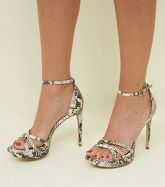 Stone Faux Snake Platform Stiletto Sandals New Look