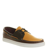 Poste Batello Boat Shoe GREEN MUSTARD BROWN LEATHER