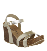 Office Mystery Cross Strap Cork Wedges GOLD LEATHER