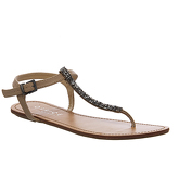 Office Ornate Jewel T Bar Strappy Sandals NUDE