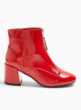 Womens Wide Fit Belle Red Zip Front Boots, RED