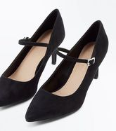 Wide Fit Black Suedette Mary Jane Courts New Look