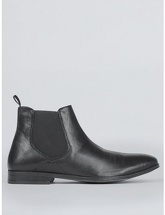 Mens Black Leather Chelsea Boots, Black