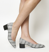 Office Frenchie Block Heel Point BLACK WHITE LEATHER