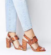 Office Honest Buckle Strap Block Sandal ORANGE SNAKE