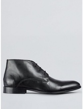Mens Black Leather Chukka Boots, Black