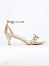 Extra Wide Fit Gold Padded Two Part Kitten Heel Sandals, Gold (wide!)