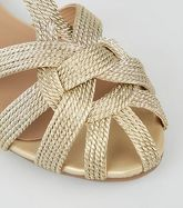 Gold Woven Strappy Flat Sandals New Look