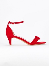 Extra Wide Fit Red Padded Two Part Kitten Heel Sandals, Red (wide!)