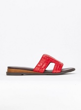 Extra Wide Fit Red Mini Wedge Mules, Red (wide!)