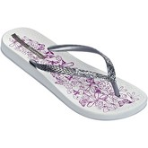Ipanema  Nature Flip Flops in White   Silver Flowers Print 81926  women's Flip flops / Sandals (Shoes) in White