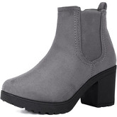 Spylovebuy  YAEL Block Heel Ankle Boots Shoes - Grey Suede Style  women's Low Ankle Boots in Grey