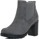 Spylovebuy  BOMBSHELL Platform Block Heel Chelsea Ankle Boots - Grey Suede  women's Low Ankle Boots in Grey